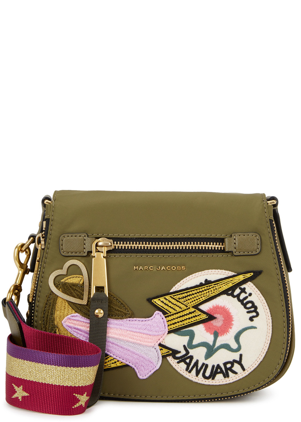 Nomad Small AppliquÃd Shoulder Bag - secondary colour: white; predominant colour: khaki; occasions: casual; type of pattern: standard; style: shoulder; length: shoulder (tucks under arm); size: small; material: leather; embellishment: applique; finish: plain; pattern: patterned/print; multicoloured: multicoloured; wardrobe: highlight; season: s/s 2017