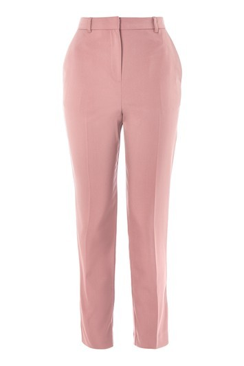 High Waisted Cigarette Trousers - pattern: plain; waist: high rise; predominant colour: pink; occasions: casual; length: ankle length; fibres: polyester/polyamide - stretch; texture group: crepes; fit: slim leg; pattern type: fabric; style: standard; trends: chic girl, glossy girl, pretty girl, tomboy girl; wardrobe: highlight; season: s/s 2017