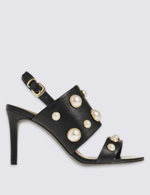 Stiletto Pearl Sandals With Insolia - predominant colour: black; occasions: evening, occasion; material: faux leather; heel height: high; embellishment: pearls; heel: stiletto; toe: open toe/peeptoe; style: strappy; finish: plain; pattern: plain; wardrobe: event; season: s/s 2017; trends: simply elevated