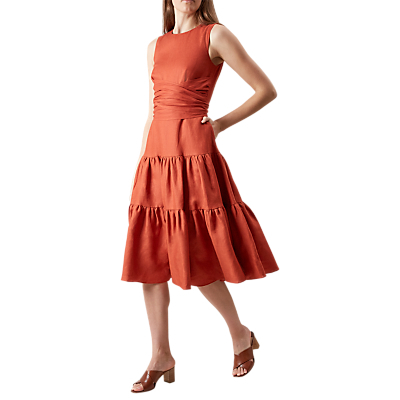 Seville Dress - length: below the knee; pattern: plain; style: prom dress; sleeve style: leg o mutton; predominant colour: terracotta; fit: fitted at waist & bust; fibres: linen - mix; occasions: occasion; neckline: crew; hip detail: adds bulk at the hips; sleeve length: sleeveless; texture group: linen; pattern type: fabric; wardrobe: event; season: s/s 2017