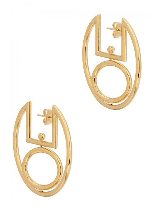 Gold Tone Hoop Earrings - predominant colour: gold; occasions: evening; style: hoop; length: mid; size: large/oversized; material: chain/metal; fastening: pierced; finish: metallic; wardrobe: event; season: s/s 2017