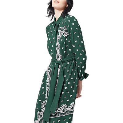 Bandana Shirt Dress, Dark Green - style: shirt; neckline: shirt collar/peter pan/zip with opening; fit: fitted at waist; sleeve style: sleeveless; waist detail: belted waist/tie at waist/drawstring; predominant colour: dark green; occasions: casual, creative work; length: on the knee; fibres: polyester/polyamide - 100%; sleeve length: long sleeve; pattern type: fabric; pattern size: big & busy; pattern: patterned/print; texture group: other - light to midweight; wardrobe: highlight; season: s/s 2017