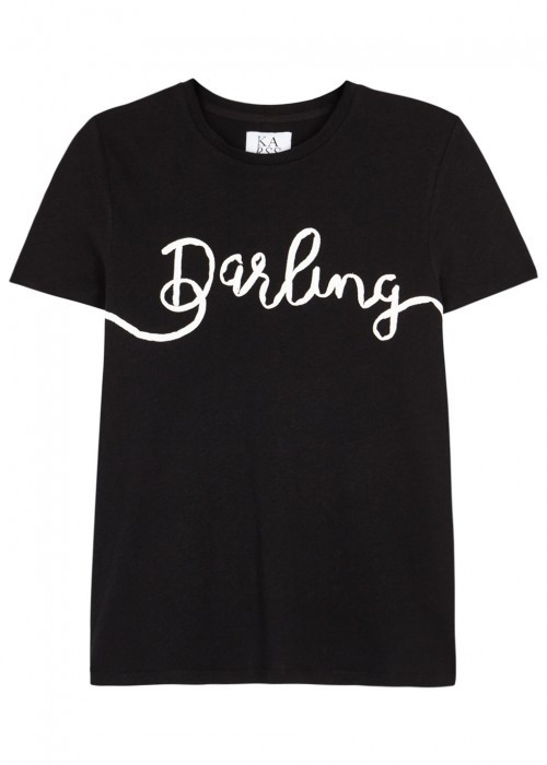 Darling AppliquÃd Cotton Blend T Shirt Size - style: t-shirt; secondary colour: white; predominant colour: black; occasions: casual; length: standard; fibres: cotton - mix; fit: body skimming; neckline: crew; sleeve length: short sleeve; sleeve style: standard; pattern type: fabric; pattern size: standard; texture group: jersey - stretchy/drapey; pattern: graphic/slogan; multicoloured: multicoloured; wardrobe: highlight; season: s/s 2017