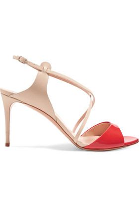Two Tone Patent And Smooth Leather Sandals Ecru - secondary colour: true red; predominant colour: nude; occasions: occasion, creative work; material: leather; heel height: high; heel: stiletto; toe: open toe/peeptoe; style: standard; finish: patent; pattern: colourblock; wardrobe: highlight; season: s/s 2017