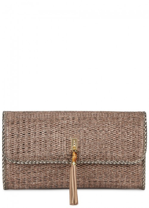 Portofino Bronze Raffia Clutch - predominant colour: bronze; occasions: evening, occasion; type of pattern: standard; style: clutch; length: hand carry; size: standard; material: macrame/raffia/straw; pattern: plain; finish: metallic; wardrobe: event; season: s/s 2017