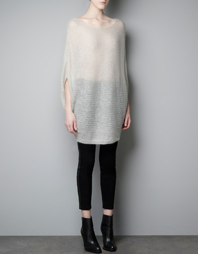 Poncho Sweater - neckline: scoop neck; sleeve style: dolman/batwing; pattern: plain; length: below the bottom; style: poncho; predominant colour: stone; occasions: casual, work; fibres: acrylic - mix; fit: loose; sleeve length: half sleeve; trends: trophy jumper ; texture group: knits/crochet; pattern type: knitted - other; pattern size: standard; season: a/w 2012