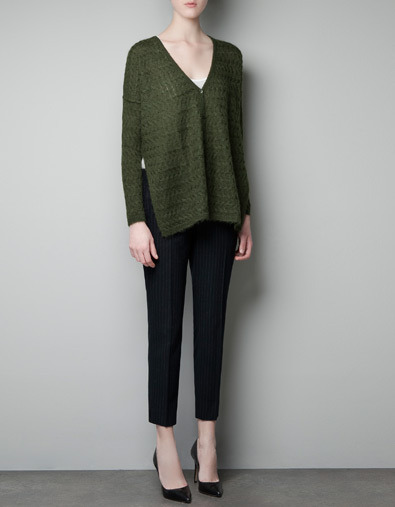 Cable Knit Cardigan - neckline: low v-neck; length: below the bottom; pattern: cable knit; predominant colour: dark green; occasions: casual, work; style: standard; fibres: acrylic - mix; fit: loose; sleeve length: long sleeve; sleeve style: standard; trends: deep tones; texture group: knits/crochet; pattern type: knitted - other; pattern size: standard; season: a/w 2012