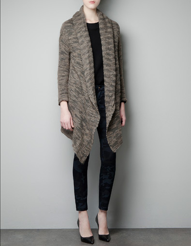 Mohair Cardigan - neckline: shawl; style: open front; predominant colour: taupe; occasions: casual; fibres: acrylic - mix; fit: loose; sleeve length: long sleeve; sleeve style: standard; texture group: knits/crochet; pattern type: knitted - other; pattern size: light/subtle; pattern: patterned/print; season: a/w 2012