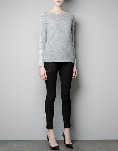 Angora Sweater With Lace - neckline: round neck; pattern: plain; style: standard; predominant colour: light grey; occasions: casual, work; length: standard; fibres: wool - mix; fit: standard fit; sleeve length: long sleeve; sleeve style: standard; texture group: knits/crochet; pattern type: knitted - other; pattern size: standard; season: a/w 2012