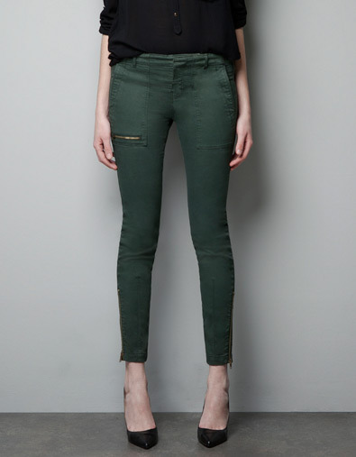 Trousers With Zips And Pockets - pattern: plain; waist: mid/regular rise; predominant colour: dark green; occasions: casual; length: ankle length; fibres: cotton - stretch; hip detail: fitted at hip (bottoms); trends: deep tones; fit: skinny/tight leg; pattern type: fabric; texture group: woven light midweight; style: standard; season: a/w 2012; pattern size: standard (bottom)