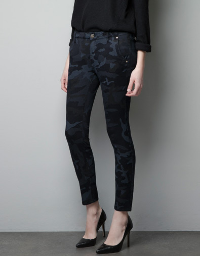 Camouflage Trousers With Pocket Flaps - waist: mid/regular rise; predominant colour: navy; occasions: casual, evening, work; length: ankle length; fibres: cotton - mix; hip detail: fitted at hip (bottoms); trends: deep tones, a/w prints; fit: skinny/tight leg; pattern type: fabric; pattern: animal print; texture group: woven light midweight; style: standard; season: a/w 2012; pattern size: big & busy (bottom)
