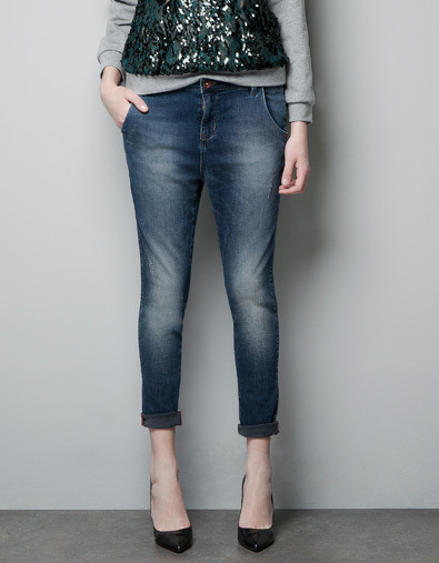 Slouchy Jeans - pattern: plain; pocket detail: traditional 5 pocket; style: slim leg; waist: mid/regular rise; predominant colour: denim; occasions: casual; length: ankle length; fibres: cotton - stretch; jeans detail: whiskering, washed/faded; jeans & bottoms detail: turn ups; texture group: denim; pattern type: fabric; season: a/w 2012; pattern size: standard (bottom)