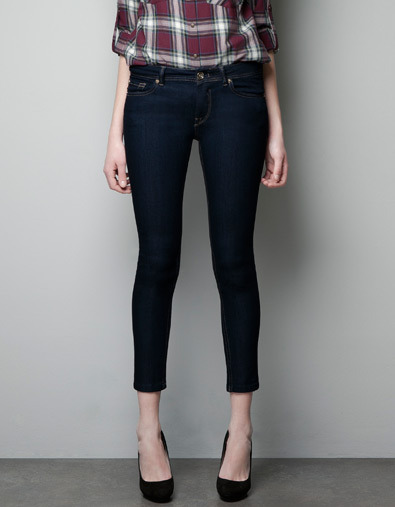 Z1975 Skinny Jeans - style: skinny leg; pattern: plain; waist: low rise; pocket detail: traditional 5 pocket; predominant colour: navy; occasions: casual; length: ankle length; fibres: polyester/polyamide - stretch; jeans detail: dark wash; texture group: denim; pattern type: fabric; season: a/w 2012; pattern size: standard (bottom)