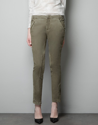 Combination Trousers With Zips - pattern: plain; pocket detail: small back pockets, pockets at the sides; waist: low rise; predominant colour: khaki; occasions: casual, evening, work; length: ankle length; fibres: cotton - stretch; trends: military; fit: slim leg; pattern type: fabric; texture group: woven light midweight; style: standard; season: a/w 2012; pattern size: standard (bottom)