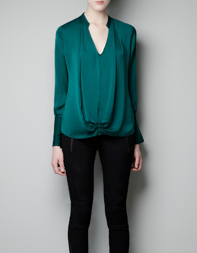 Blouse With Gathering - neckline: low v-neck; pattern: plain; style: blouse; waist detail: flattering waist detail; predominant colour: emerald green; occasions: casual, evening, work; length: standard; fibres: polyester/polyamide - 100%; fit: loose; hip detail: subtle/flattering hip detail; sleeve length: long sleeve; sleeve style: standard; trends: deep tones; texture group: structured shiny - satin/tafetta/silk etc.; pattern type: fabric; pattern size: standard; season: a/w 2012