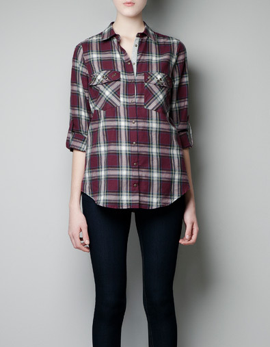 Checked Shirt With Pocket Flaps - neckline: shirt collar/peter pan/zip with opening; pattern: checked/gingham; style: shirt; predominant colour: burgundy; occasions: casual, work; length: standard; fibres: cotton - 100%; fit: straight cut; sleeve length: 3/4 length; sleeve style: standard; trends: deep tones; pattern type: fabric; pattern size: standard; texture group: jersey - stretchy/drapey; season: a/w 2012