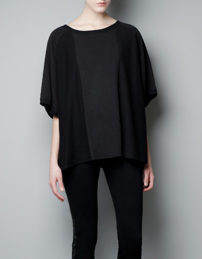 Cape Style Sweater - neckline: round neck; sleeve style: dolman/batwing; pattern: plain; style: standard; predominant colour: black; occasions: casual; length: standard; fibres: cotton - mix; sleeve length: 3/4 length; pattern type: knitted - other; pattern size: standard; texture group: jersey - stretchy/drapey; season: a/w 2012