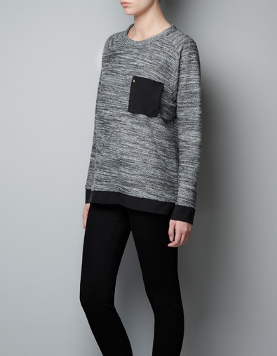 Sweatshirt With Pocket - neckline: round neck; length: below the bottom; style: sweat top; predominant colour: mid grey; occasions: casual, work; fibres: cotton - mix; fit: loose; back detail: longer hem at back than at front; sleeve length: long sleeve; sleeve style: standard; trends: trophy jumper ; pattern type: fabric; pattern size: light/subtle; pattern: patterned/print; texture group: jersey - stretchy/drapey; season: a/w 2012