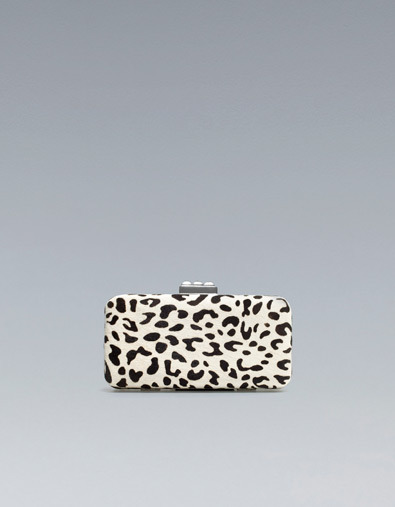 Animal Print Evening Bag - predominant colour: ivory/cream; occasions: evening, occasion; type of pattern: standard; style: clutch; length: hand carry; size: small; material: leather; pattern: animal print; trends: a/w prints; season: a/w 2012