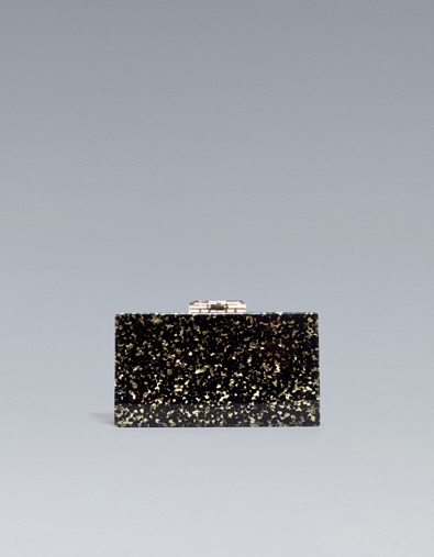 Rigid Evening Bag - predominant colour: black; occasions: evening, occasion; type of pattern: light; style: clutch; length: hand carry; size: small; material: plastic/rubber; embellishment: glitter; pattern: plain; trends: embellished/bejewelled/ornate ; finish: metallic; season: a/w 2012