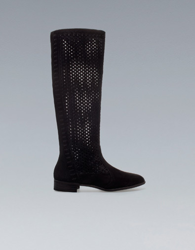 Cut Work Flat Boot - predominant colour: black; occasions: casual; material: suede; heel height: flat; heel: standard; toe: round toe; boot length: knee; style: standard; season: a/w 2012
