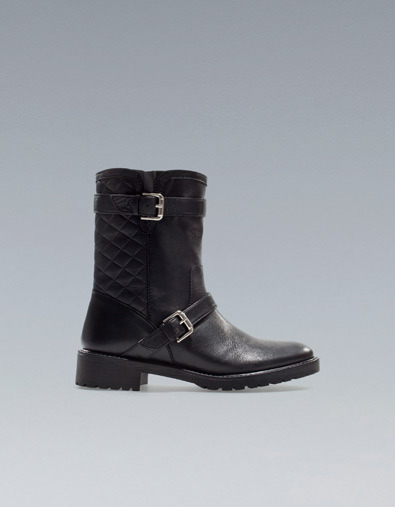 Flat Quilted Ankle Boot - predominant colour: black; occasions: casual; material: leather; heel height: flat; embellishment: buckles; heel: standard; toe: round toe; boot length: ankle boot; style: biker boot; season: a/w 2012