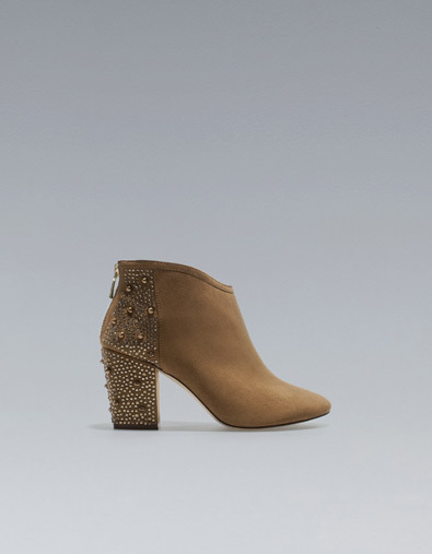 High Heel Studded Ankle Boot - predominant colour: camel; occasions: casual, creative work; material: fabric; heel height: mid; embellishment: studs; heel: block; toe: pointed toe; boot length: ankle boot; style: standard; finish: plain; pattern: plain; season: a/w 2012