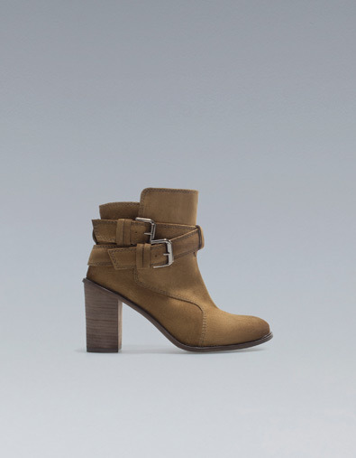 High Heel Ankle Boots With Buckles - predominant colour: camel; occasions: casual, work; material: suede; heel height: mid; embellishment: buckles; heel: block; toe: round toe; boot length: ankle boot; style: standard; season: a/w 2012