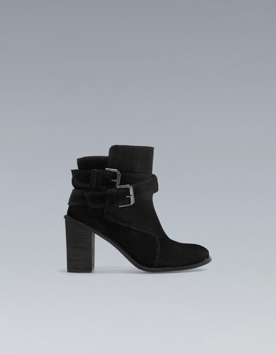 High Heel Ankle Boots With Buckles - predominant colour: black; occasions: casual, creative work; material: suede; heel height: mid; embellishment: buckles; heel: block; toe: round toe; boot length: ankle boot; style: standard; finish: plain; pattern: plain; season: a/w 2012