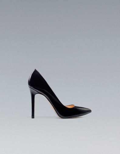 Leather Court Shoe - predominant colour: black; occasions: evening, work, occasion; material: leather; heel height: high; heel: stiletto; toe: pointed toe; style: courts; season: a/w 2012