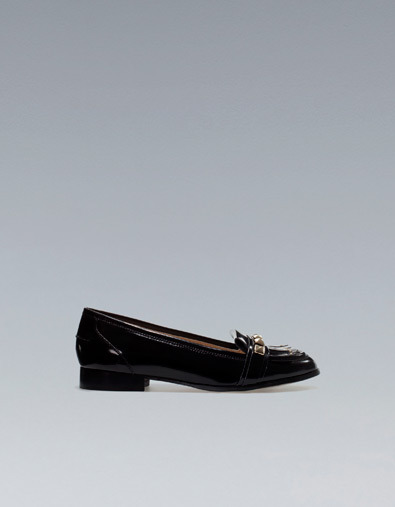 Studded Moccasin With Fringes - predominant colour: black; occasions: casual, evening, work; material: faux leather; heel height: flat; toe: round toe; style: loafers; trends: embellished/bejewelled/ornate ; season: a/w 2012