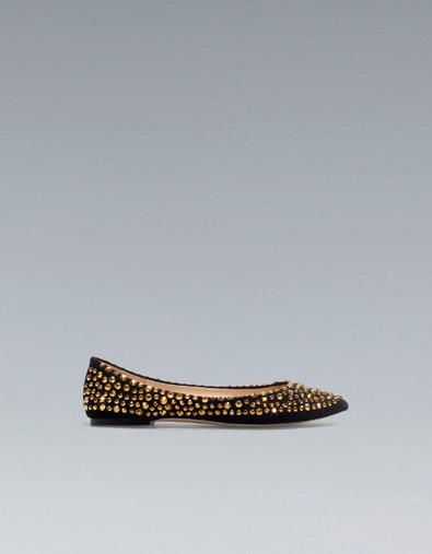 Flat Court Shoe With Rhinestones - predominant colour: black; occasions: casual, evening, work; material: fabric; heel height: flat; embellishment: jewels/stone; toe: pointed toe; style: ballerinas / pumps; trends: embellished/bejewelled/ornate ; season: a/w 2012