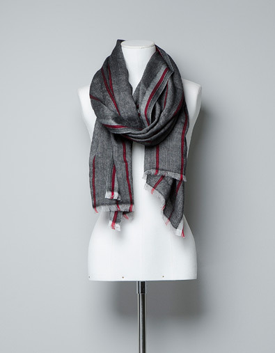Striped Herringbone Scarf - predominant colour: charcoal; occasions: casual, evening, work; type of pattern: small; style: regular; size: large; material: fabric; embellishment: fringing; trends: deep tones; pattern: patterned/print; season: a/w 2012