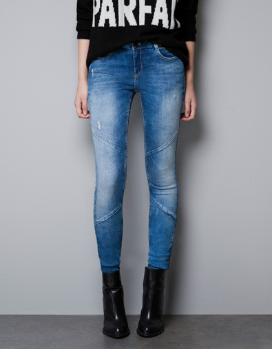 Skinny Jeans With Seams - style: skinny leg; length: standard; pattern: plain; pocket detail: traditional 5 pocket; waist: mid/regular rise; predominant colour: denim; occasions: casual; fibres: cotton - stretch; jeans detail: whiskering, shading down centre of thigh, washed/faded; texture group: denim; pattern type: fabric; season: a/w 2012; pattern size: standard (bottom)