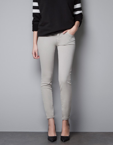 'Semi Push Up' Trousers - pattern: plain; pocket detail: traditional 5 pocket; waist: mid/regular rise; predominant colour: light grey; occasions: casual, work; length: ankle length; fibres: cotton - stretch; hip detail: fitted at hip (bottoms); jeans & bottoms detail: turn ups; fit: skinny/tight leg; pattern type: fabric; texture group: woven light midweight; style: standard; season: a/w 2012; pattern size: standard (bottom)