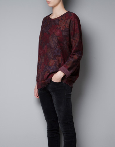 Floral Sweatshirt - neckline: round neck; sleeve style: raglan; length: below the bottom; style: sweat top; predominant colour: burgundy; occasions: casual; fibres: cotton - mix; fit: loose; sleeve length: long sleeve; trends: deep tones, a/w prints; texture group: jersey - clingy; pattern type: fabric; pattern size: standard; pattern: florals; season: a/w 2012