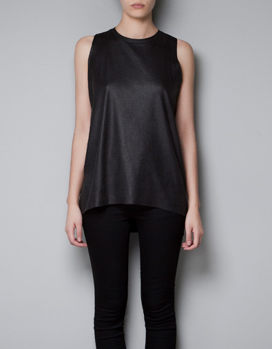 Leather Effect T Shirt - pattern: plain; sleeve style: sleeveless; style: vest top; predominant colour: black; occasions: casual, evening, work; length: standard; fibres: polyester/polyamide - mix; fit: loose; neckline: crew; back detail: longer hem at back than at front; sleeve length: sleeveless; texture group: leather; pattern type: fabric; pattern size: standard; season: a/w 2012