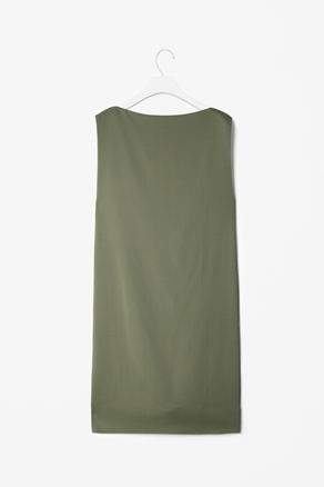 Silk Open Back Dress - style: shift; length: mid thigh; neckline: slash/boat neckline; pattern: plain; sleeve style: sleeveless; back detail: back revealing; predominant colour: khaki; occasions: casual, evening; fit: straight cut; fibres: silk - mix; sleeve length: sleeveless; trends: deep tones; pattern type: fabric; pattern size: standard; season: a/w 2012
