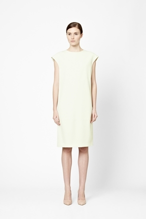 Straight Crepe Dress - style: shift; length: below the knee; neckline: round neck; sleeve style: capped; pattern: plain; predominant colour: primrose yellow; occasions: evening; fit: straight cut; fibres: polyester/polyamide - stretch; sleeve length: sleeveless; texture group: crepes; pattern type: fabric; season: a/w 2012