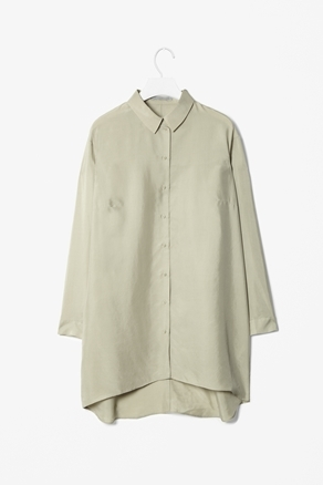 Oversized Silk Shirt - neckline: shirt collar/peter pan/zip with opening; pattern: plain; length: below the bottom; style: shirt; predominant colour: khaki; occasions: casual, evening, work; fibres: silk - 100%; fit: loose; sleeve length: long sleeve; sleeve style: standard; texture group: silky - light; pattern type: fabric; pattern size: standard; season: a/w 2012