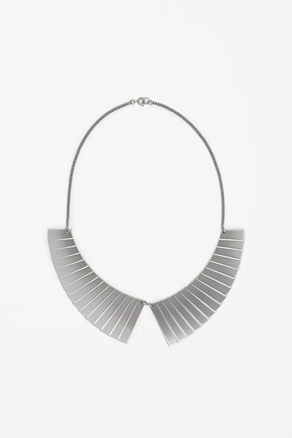 Metal Collar Necklace - predominant colour: silver; occasions: casual, evening, work, occasion; length: short; size: large/oversized; material: chain/metal; finish: metallic; style: bib/statement; season: a/w 2012