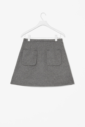 A Line Pocket Skirt - length: mini; pattern: plain; fit: tailored/fitted; waist: mid/regular rise; predominant colour: mid grey; occasions: casual, work; style: a-line; fibres: wool - mix; trends: pure tailoring; pattern type: fabric; texture group: woven bulky/heavy; season: a/w 2012; pattern size: standard (bottom)