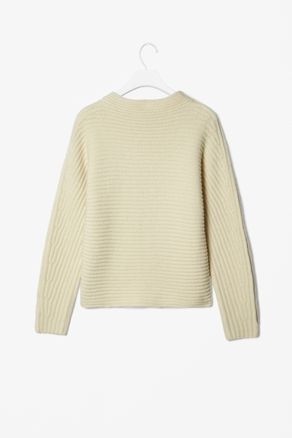 Ribbed Wool Jumper - neckline: slash/boat neckline; pattern: plain; style: standard; predominant colour: stone; occasions: casual; length: standard; fibres: wool - 100%; fit: standard fit; sleeve length: long sleeve; sleeve style: standard; texture group: knits/crochet; pattern type: knitted - other; pattern size: standard; season: a/w 2012