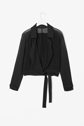Pleated Sheer Jacket - pattern: plain; style: double breasted blazer; collar: standard lapel/rever collar; predominant colour: black; occasions: casual, evening; fit: straight cut (boxy); fibres: polyester/polyamide - 100%; waist detail: belted waist/tie at waist/drawstring; sleeve length: long sleeve; sleeve style: standard; texture group: sheer fabrics/chiffon/organza etc.; collar break: low/open; pattern type: fabric; pattern size: standard; season: a/w 2012; length: cropped