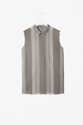 Top With Sheer Stripes - neckline: shirt collar/peter pan/zip with opening; pattern: vertical stripes; sleeve style: sleeveless; predominant colour: mid grey; occasions: casual, evening, work; length: standard; style: top; fibres: linen - mix; fit: straight cut; sleeve length: sleeveless; texture group: linen; pattern type: fabric; pattern size: standard; season: a/w 2012