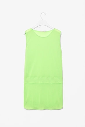 Tiered Top - neckline: round neck; pattern: plain; sleeve style: sleeveless; length: below the bottom; predominant colour: lime; occasions: casual, evening, work; style: top; fibres: polyester/polyamide - 100%; fit: loose; sleeve length: sleeveless; texture group: sheer fabrics/chiffon/organza etc.; pattern type: fabric; pattern size: standard; season: a/w 2012