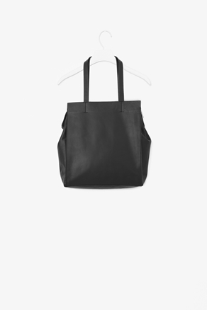Square Leather Tote Bag - predominant colour: black; occasions: casual, work; style: tote; length: handle; size: standard; material: leather; pattern: plain; season: a/w 2012