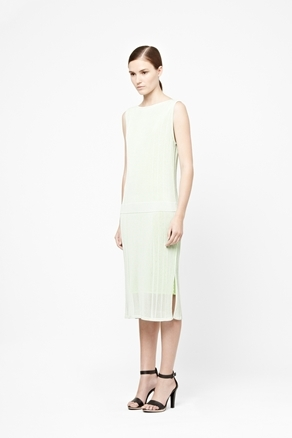 Mesh Layer Knit Dress - style: shift; length: below the knee; neckline: slash/boat neckline; pattern: plain; sleeve style: sleeveless; predominant colour: lime; occasions: evening, occasion, holiday; fit: straight cut; fibres: polyester/polyamide - stretch; hip detail: slits at hip; sleeve length: sleeveless; texture group: knits/crochet; pattern type: fabric; pattern size: standard; season: a/w 2012