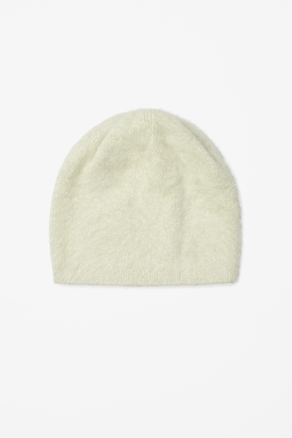 Angora Beanie Hat - predominant colour: ivory/cream; occasions: casual; type of pattern: standard; style: beanie; size: standard; material: knits; pattern: plain; season: a/w 2012