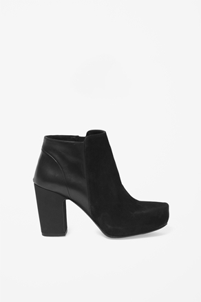 Nubuck Panel Boots - predominant colour: black; occasions: casual, work; material: leather; heel height: mid; heel: block; toe: pointed toe; boot length: ankle boot; style: standard; season: a/w 2012